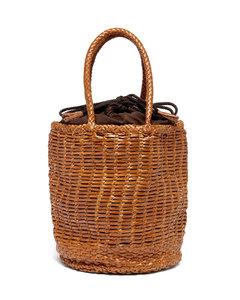 Bali woven-leather bucket bag
