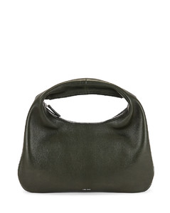 Small Everyday Grain Leather Shoulder Bag in Olive