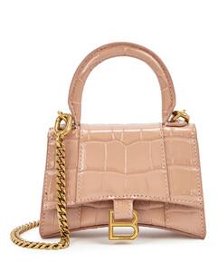 Hourglass mini blush leather cross-body bag