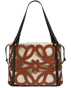 Anagram Small Cutout Leather Tote Bag