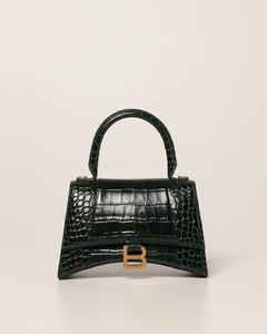 Hourglass top handle S bag in crocodile print leather