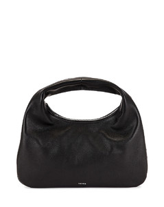 Small Everyday Grain Leather Shoulder Bag in Black