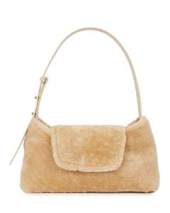 Envelope brown shearling shoulder bag