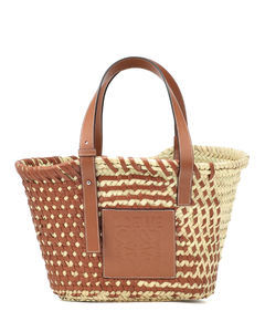 Leather-trimmed basket tote