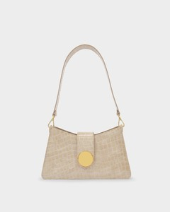 Baguette Bag In Beige Croc-embossed Patent Leather