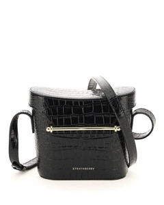E-canvas and leather shoulder bag