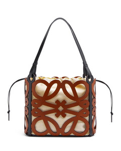 Small Anagram cut-out tote in calfskin