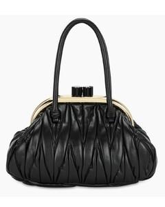 Black Miu Belle matelassénappa bag