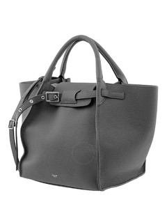 Grey Small Big Bag With Long Strap In Supple Grained Calfskin