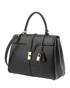 Medium 16 Bag in Satinated Calfskin- Black