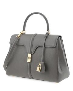 Medium 16 Bag in Grained Calfskin- Grey