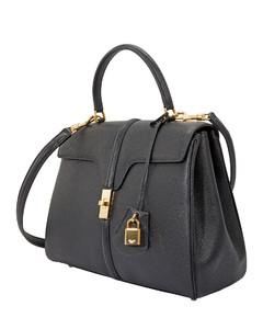 Black Medium 16 Bag In Grained Calfskin