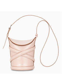 Pink leather small bucket bag