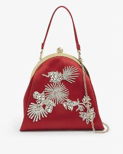 Crystal-embellished satin top-handle bag