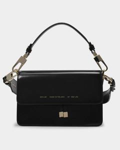 Shoulder Bag in Glossy Black Leather
