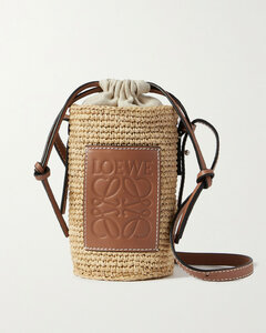 Paula's Ibiza Leather-trimmed Woven Raffia And Hemp Bucket Bag