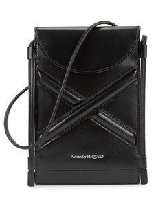 The Curve black leather cross-body pouch