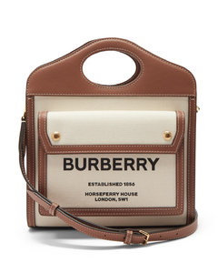 Pocket mini leather-trim canvas cross-body bag