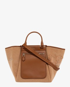 Wool and leather shoulder bag