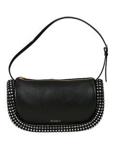 WOMEN'S WCAOBG245LL071999 BLACK LEATHER SHOULDER BAG