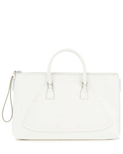 Woman Paneled Smooth And Pebbled-leather Pouch