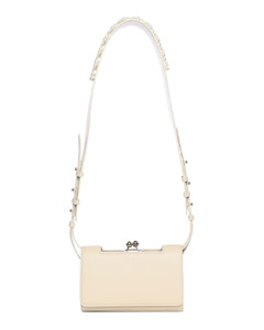 Snap embellished-strap leather cross-body bag