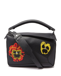 Puzzle pansy-print leather crossbody bag