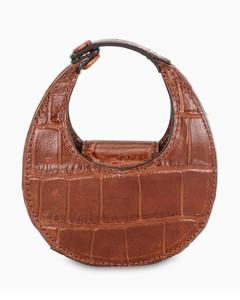 Brown croc-embossed Micro Moon bag