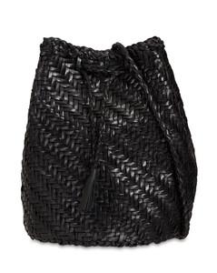 Pompom Double J Woven Leather Basket Bag