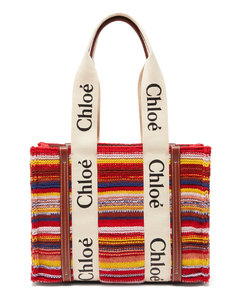 Woody small striped recycled-cashmere tote bag
