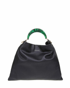 hobo bag in calfskin with resin handle