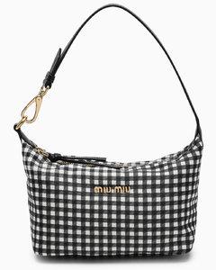 Black/white checked mini bag