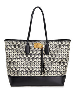 Woman Gancini Leather-trimmed Cotton-jacquard Tote