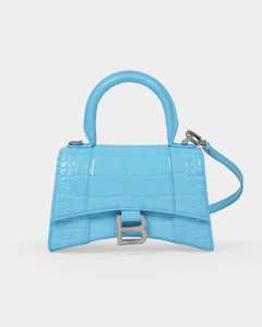 Hourglass Top Handle Xs Bag in Blue Shiny Embossed Leather