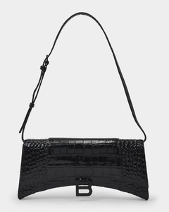 Hourglass Sling Bag in Black Shiny Embossed Leather