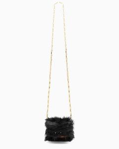 Brown/black faux-fur Trunk Nano bag