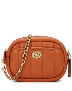 Burnt orange quilted leather cross-body bag