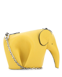 Yellow leather Elephant Pouch crossbody bag