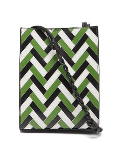 Tangle braided-strap zigzag-leather shoulder bag
