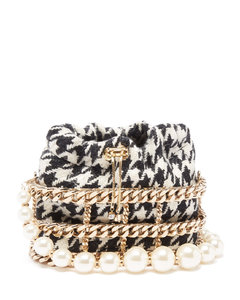 Caged houndstooth cross-body bag
