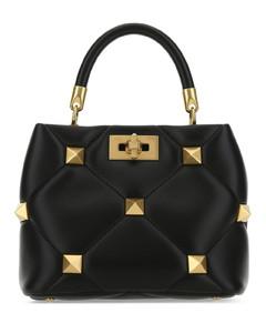 Black nappa leather small Roman Stud handbag