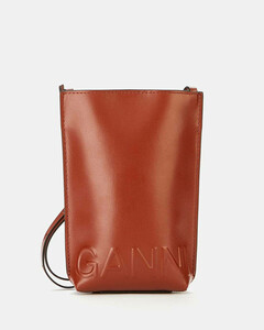 Women's Recycled Leather Small Cross Body Bag - Madder Brown