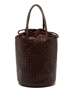 Jackey woven-leather bucket bag