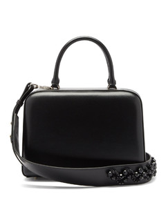 Lunchbox beaded-strap leather bag