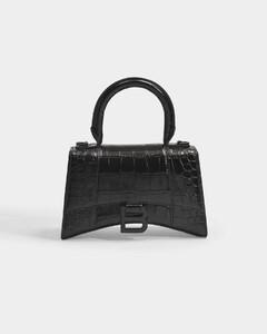 Hour Top Handle Xs Bag in Black Shiny Embossed Croc Calfskin