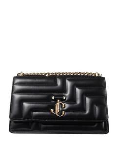 Pleat leather shoulder bag