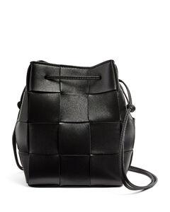 Leather Intrecciato Bucket Bag