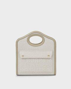 Mini Pocket Bag in Beige Canvas