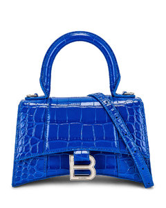 XS Hourglass Top Handle Bag in Blue