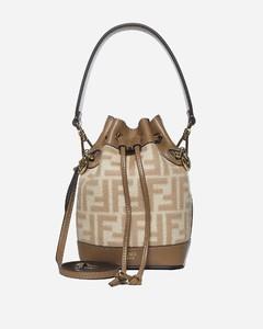 Mon Tresor mini FF wool and leather bucket bag